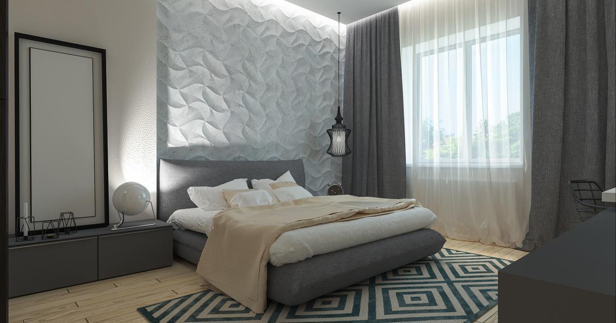 Sypialnia skandynawska i jej ozdoba - nowoczesny panel 3D