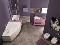 Asymetria narożnej wanny czyli łazienka w stylu pop-art