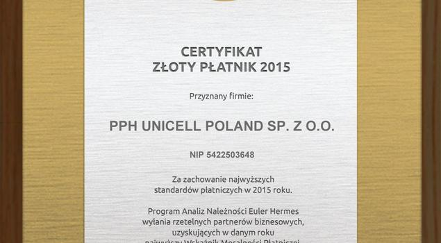 Unicell Poland laureatem Plebiscytu Złoty Płatnik 2015