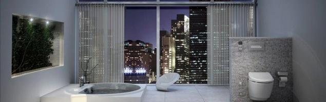 Duża nowoczesna łazienka jak luksusowy salon kąpielowy nad miastem