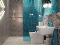 Betonowe płytki ceramiczne i dodatki do aranżacji łazienki w stylu techno