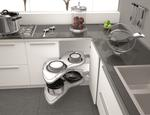 Wyposażenie narożnych szafek kuchennych. Nowoczesne meble kuchenne