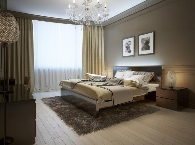 Zobacz galerię zdjęć Projekt sypialni. Brązowa, klasyczna sypialnia  Stronywnętrza.pl